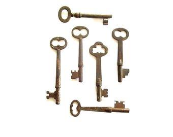 6 Vintage skeleton keys Real keys Antique skeleton key Old skeleton keys Old Skelton Vintage old keys Antique rusty keys Old bit keys #2