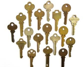 Key collection 18 keys Vintage stamping keys Antique keys DIY Stamping key Old keys for stamping Blank keys Blank side Stampable A1 BK #15A
