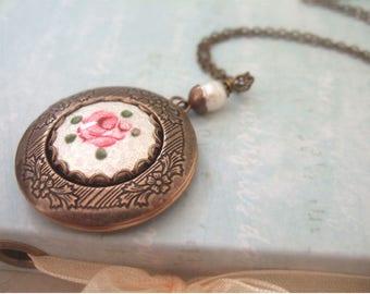 VINTAGE ROSE antiqued brass floral locket necklace with pearl white vintage Guilloche enamel  flower cab