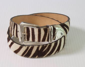 Vintage Cow hair Belt - brown and white Leather Belt by Elite