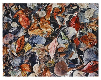 Watercolor Leaves Painting- 11x14- Rust, Grey, Blue, Red- Hidden Treasure- Original Wall Art- Ready To Ship- Diamond In The Rough III