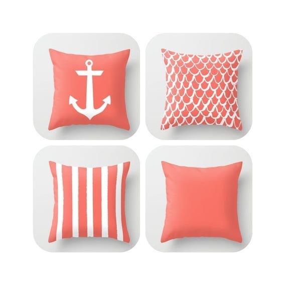 Coral Throw Pillow . Mermaid Pillow . Anchor Pillow . Coastal Pillow . Striped Pillow . Salmon cushion Coral Throw Pillow 14 16 18 20 inch