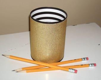 Black White and Gold Glitter Desk Accessories, Bling Pencil Holder, Desk Organizer, Office Decor, Glitter Dorm Decor, Makeup Organizer 1094