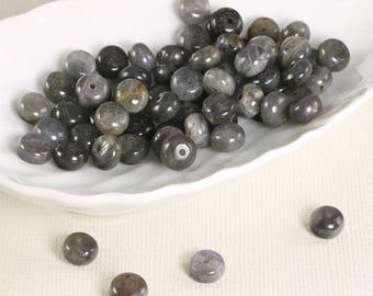 Gray labradorite rondels, 33pcs, 8mm - 1181
