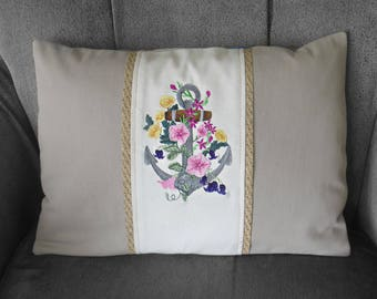 Nautical pillow with anchor & flowers