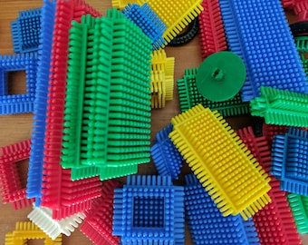 50 Plastic Bristle Blocks, Orange, Green, Yellow, Blue and Red, Building Toy, Architectural Blocks