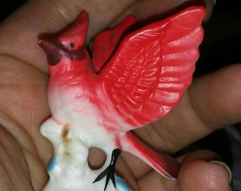 Vintage Little Bone China Cardinal Bird Figurine
