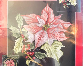 Christmas Counted Cross Stitch Poinsettia Sealed Kit
