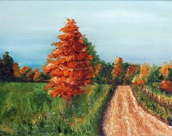 Autumn Tree, Autumn Painting, Fall Painting, Orange Tree, Fall Foliage, Original Oil Painting, Autumn Colors, Dirt Road, Helen Eaton