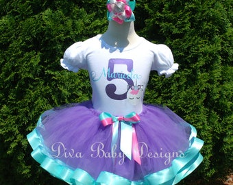 Unicorn birthday outfit girl 1st 2nd 3rd 4th 5th girls birthday ribbon trim tutu outfit aqua purple pink sleeping unicorn face name and age