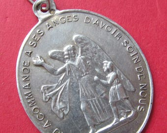 Guardian Angel Antique Silver Religious Medal Holy Family Catholic Pendant  SS-457