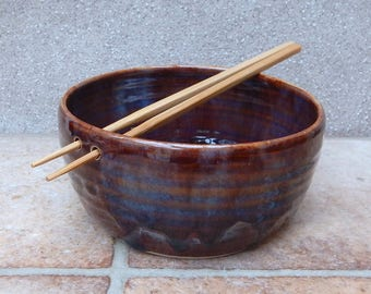Noodle or rice serving bowl wheel thrown stoneware pottery ceramic handmade handthrown