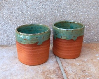Pair of whisky tumbler or espresso coffee cup small mug handthrown terracotta pottery handmade wheel thrown ceramic