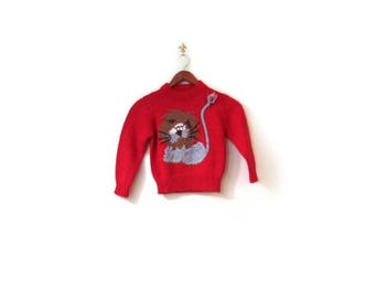 30% OFF Vintage 70s Handmade Learned LION Children's Knit Red Sweater