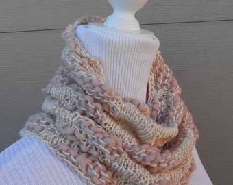 Ladies handmade knitted  pink  cowl scarf .