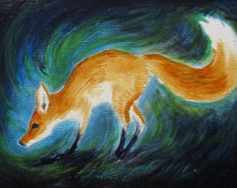 Little Fox - original daily painting by Kellie Marian Hill