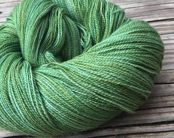 hand dyed lace weight yarn Everglades Excursion green Silk Treasures Lace yarn merino silk 875 yards hand dyed yarn forest spring olive