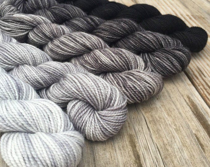 cashmere Blackbeard's Revenge Hand Dyed Gradient Set Mini Skein Sock Yarn 475 yards cashmere blend yarn cashmere silver gray black swm mcn