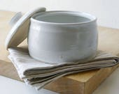 Ceramic barrel shaped kitchen canister - stoneware pottery jar in brilliant white