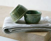 Set of two wheat motif snack bowls - glazed in forest green