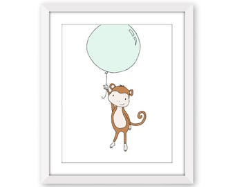Monkey Nursery Art - Monkey Balloon - Monkey Nursery Art Print - Nursery Decor - Children Art - Kids Wall Art - Monkey Art - Safari Nursery
