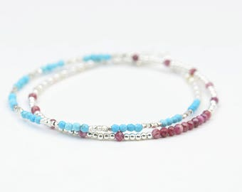 Multi strands gemstones and sterling silver beads bracelet.Bracelet set.Dainty bracelet.Wrap bracelet.Ruby and turquoise