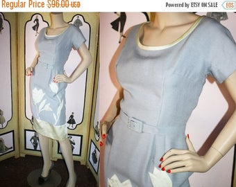 ON SALE 1950's Periwinkle Dress with Satin Floral Appliques. Very Ethyl Mertz. Custom Made. Large.