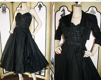 ON SALE 50's Black Rhinestone Party Dress with Bolero and Belt. XS to Small.