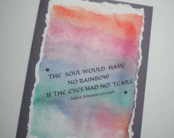 Watercolor Greeting Card with sympathy quote, Native American inspired