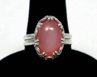 Pink Ring Pink Gemstone Ring Pink Moonstone Ring Sterling Silver