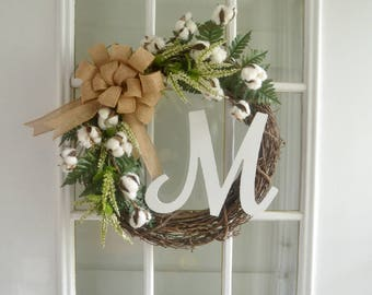 Personalized Wreath - Initial Wreath - Door Wreath - Cotton Ball Wreath - Wedding Wreath - Floral Wreath - Grapevine Wreath