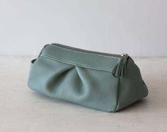 Mint leather makeup bag, accessory case, cosmetics bag, travel toiletry case - Estia bag