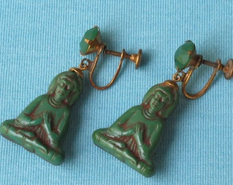Earrings 1950s Molded Jade Green Glass Seated Buddha Figural Gold Tone Screw Backs Brown Cold Paint Accents
