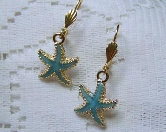Turquoise Starfish Earrings, Aqua Starfish, Ocean Beach Wedding, Mermaid, Sea foam Bridesmaids Gifts, Sea Star Star Fish Blue Earrings