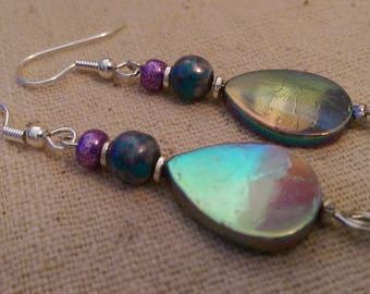 Shell Drop Earrings, Handmade, Free Shipping