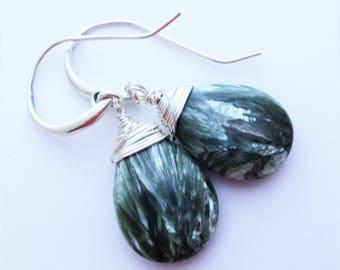 Seraphinite Angel Stone Sterling Silver Earrings