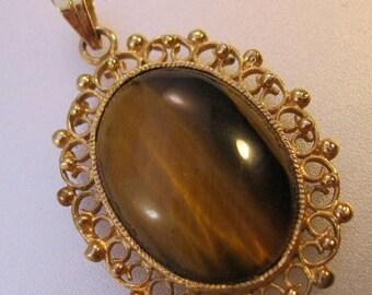 SHIPS 6/26 w/FREE Jewelry Vintage Tiger Eye Silver Vermeil Filigree Pendant Jewelry Jewellery