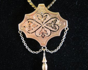 1800's Victorian era Taille d'Epargne 14k Gold Filled Pendant Necklace Antique Jewelry Jewellery