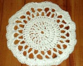 New WHITE CROCHETED DOILY, Hand Crafted, Home Made, Original Pattern by GrammasTreasure, Acrylic - 4 ply yarn,