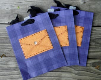 3 - BLUE GIFT BAGS, Gift Wrap, Hallmark Gift Bags, Male Themed Bag, Blue Black Plaid Gift Wrap, Father's Day, Great Guy, Paper Products, DiY