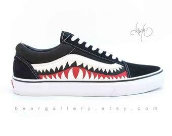 Custom Vans Shoes - Hand Painted Shark Teeth - Old Skools with Teeth Painting and Initials on Heels