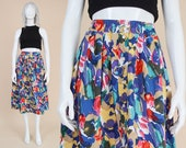 80s Colorful Floral Skirt | size M L | Cotton Skirt High Waist Button Front Pleated Midi Skirt with Pockets | Medium Large 10 12