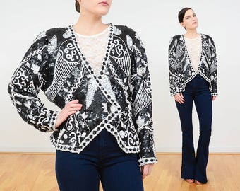 80s Silk Beaded Jacket | Sequin Jacket | Black and White Floral Jacket | Cocktail Evening Jacket | Art Deco Sequined Blouse | NOS L XL