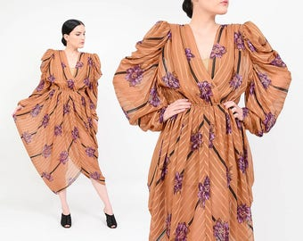 80s Sheer Brown Floral Dress | Avant Garde Dress Cascade Cocoon Dress | 1980s Cascade Draped Dress | Grecian Cocktail Dress | Medium M