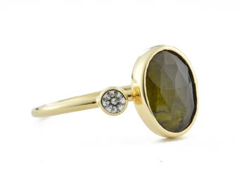 Solid 14K Gold Green Tourmaline Diamond Ring, Olive Green Tourmaline Ring with Canadian Diamond, October Birthstone, gift for her