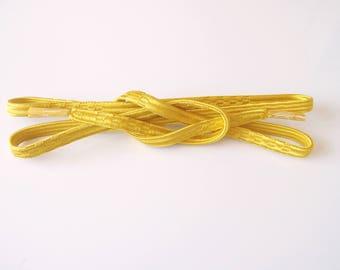 Yellow Obijime Silk Kimono Belt Accessory With Elegant Woven Accents