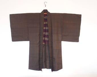 Brown Striped Kimono Cardigan Vintage Men's Haori From Japan