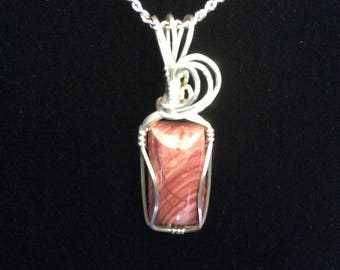 Imperial Jasper, wire wrapped pendant, handmade pendant, sterling silver jewelry, red jewelry, handmade jewelry, wire pendant