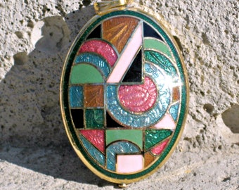 80s Enamel Pendant Vintage Abstract Colorful Cloisonne Jewelry