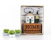Miniature House - New Home Gift - Wooden Pencil House - Housewarming Gift - Unique Gift in Box - Custom Colour